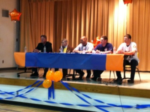 The CAREavan panel on stage at Will Rogers Elementary