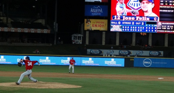 Asher Wojciechowski delivers the final pitch of his shutout in Round Rock on July 8. (Photo courtesy of Jan Opella)