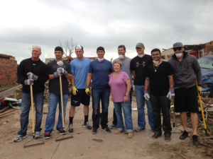 Members of the Omaha Storm Chasers in Moore.