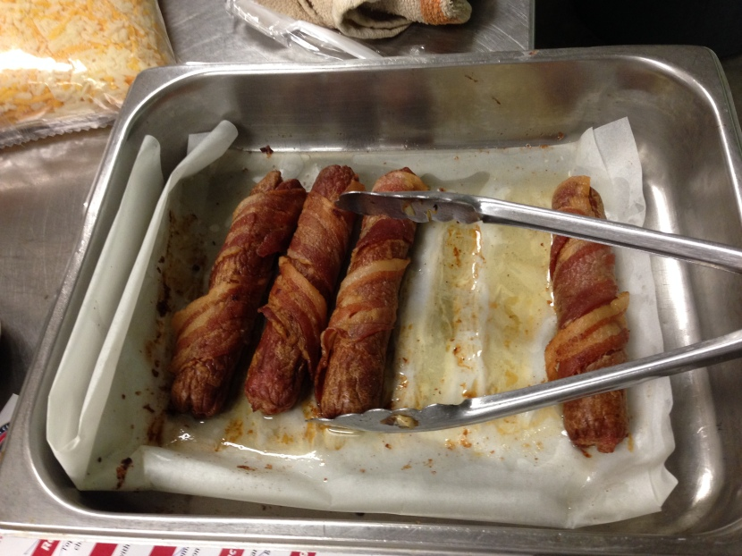 """Some leftovers from the tasting. If you're asking youself, """"Why would he post a picture of bacon-wrapped hot dogs?"""", I would ask you to politely stop reading now. We're clearly cut from different cloths."""