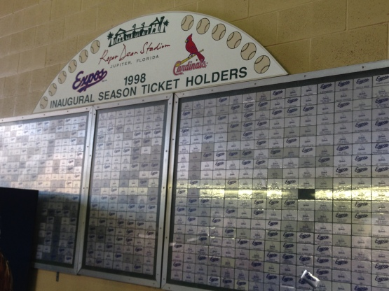 Very cool display honoring the original season ticket holders when Roger Dean Stadium opened.